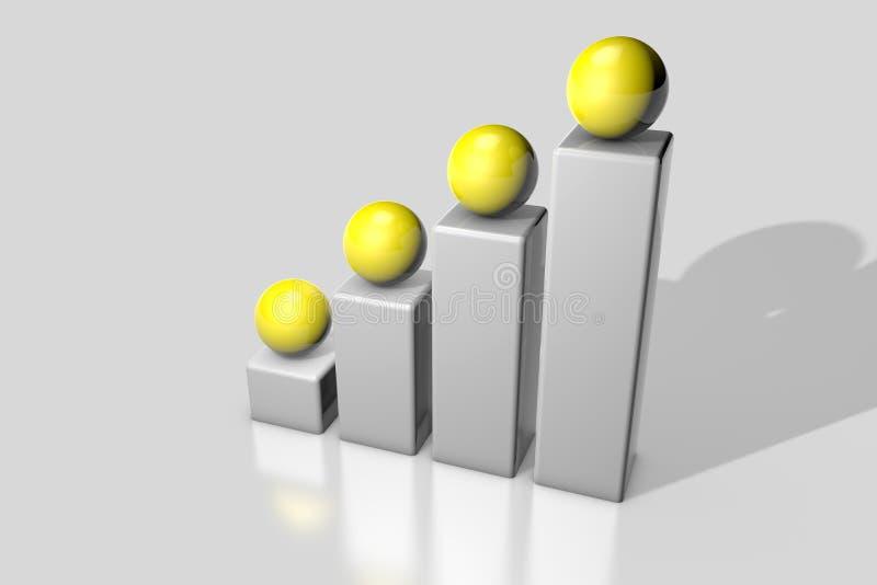 Abstrakcjonistyczny 3D renderingu wizerunek pokazuje filary z piłkami na wierzchołku ilustracji