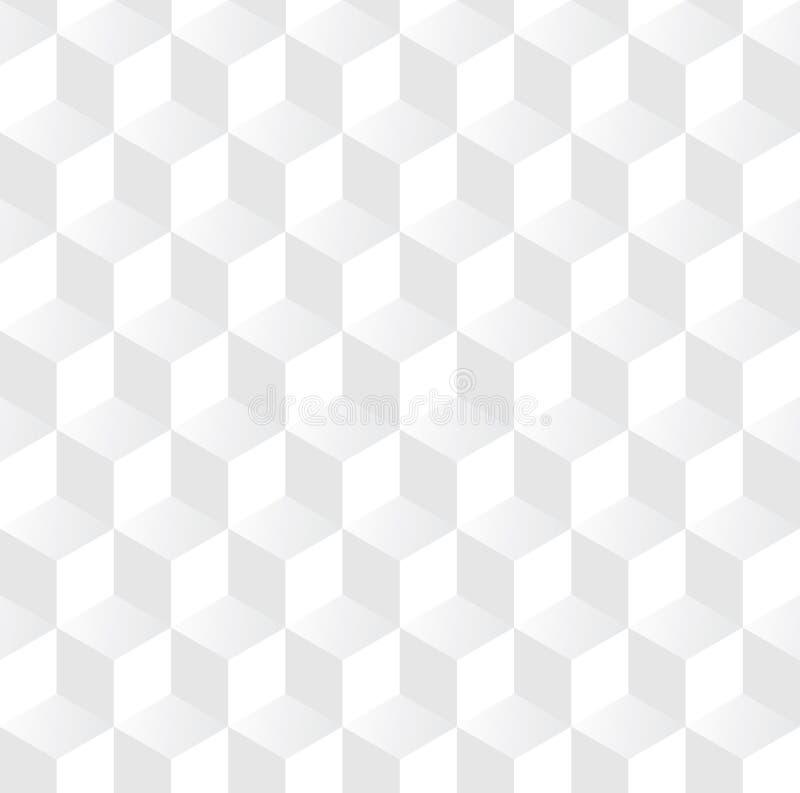 Abstrakcjonistyczny 3D sześcianu wzoru tło, Biały 3d pudełkowaty bezszwowy tło, wektor fotografia royalty free