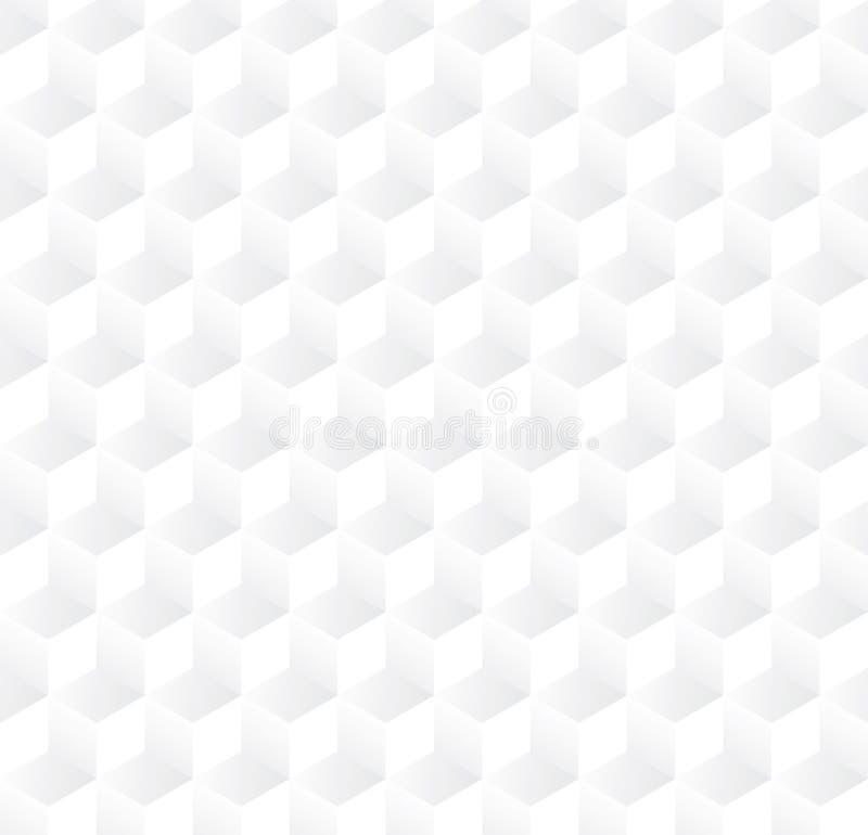 Abstrakcjonistyczny 3D sześcianu wzoru tło, Biały 3d pudełkowaty bezszwowy tło, wektor zdjęcie stock