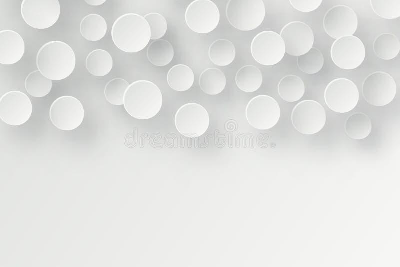 Abstrakcjonistyczny 3d tło z białego papieru geometrycznymi kształtami, okrąg royalty ilustracja