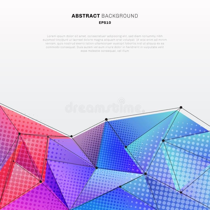 Abstrakcjonistyczny 3d wieloboka niski kształt kolorowy z halftone i wireframe strukturą na białej tło technologii projektuje Ty  ilustracja wektor