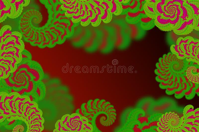 Abstrakcjonistyczny 3D wizerunek na czerwonym tle z wolumetrycznym fractal kompleksem deseniował element kędzior w postaci kwia royalty ilustracja