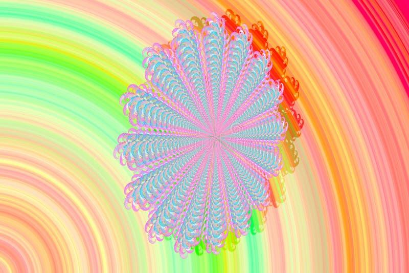 Abstrakcjonistyczny 3D wizerunek z kolorowym tłem kolorowi wzorzyści fractal elementy w postaci stokrotka kwiatu nowożytny elegan ilustracja wektor