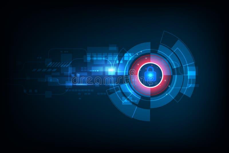 Abstrakcjonistyczny dane ochrony pojęcie i futurystyczny elektroniczny techno ilustracji