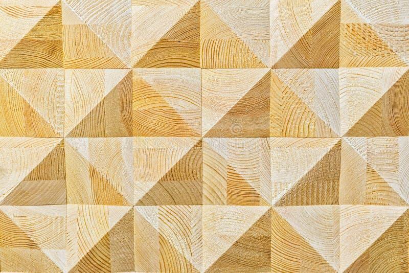 Abstrakcjonistyczny dekoracyjny ekologiczny unpainted lekki drewniany tło z geomethrical mosaik drewna wzoru zakończeniem, natura obrazy stock