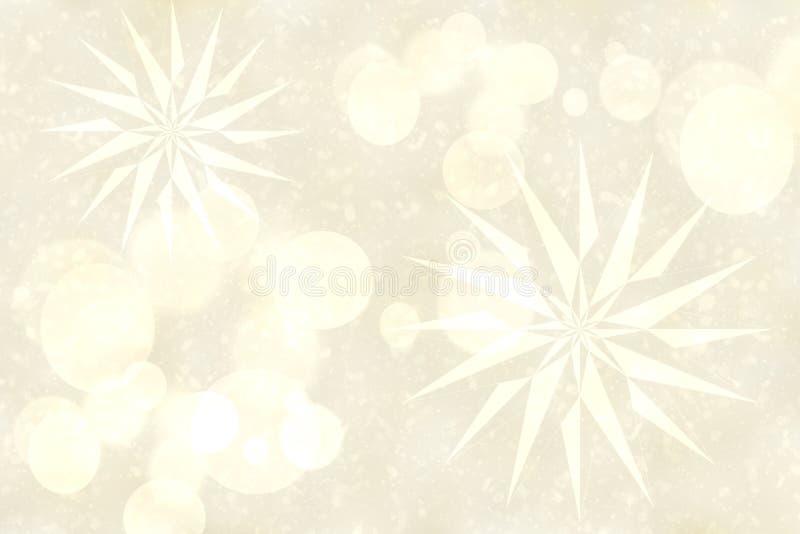 Abstrakcjonistyczny delikatny jaskrawy srebny compostion z fractal gwiazdami i zamazanymi bokeh światłami Piękna tło tekstura ilustracja wektor