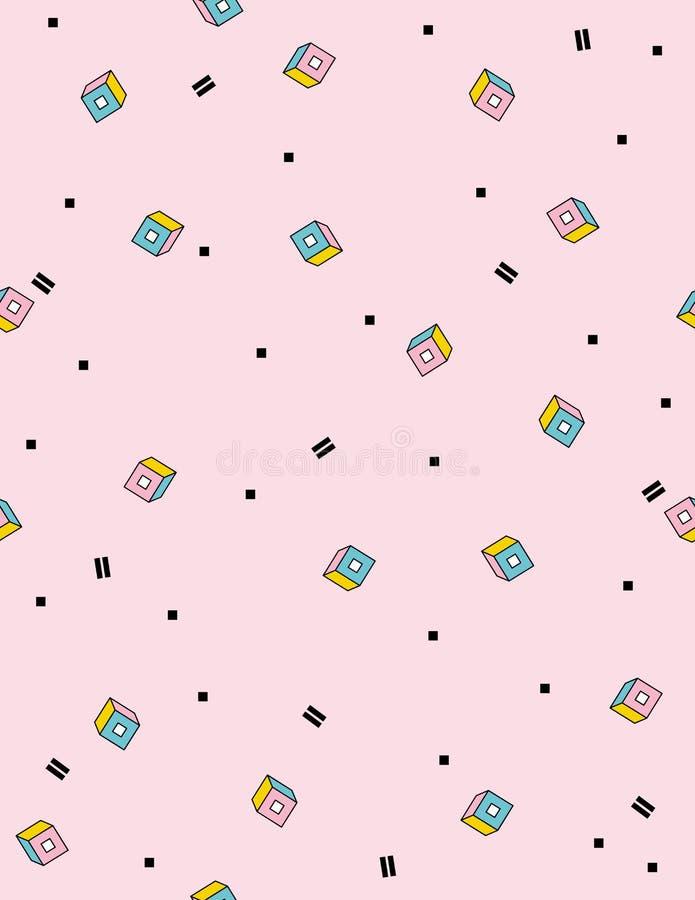 abstrakcjonistyczny deseniowy bezszwowy wektor Bigosów elementy Retro Memphis styl Różowy tło ilustracja wektor