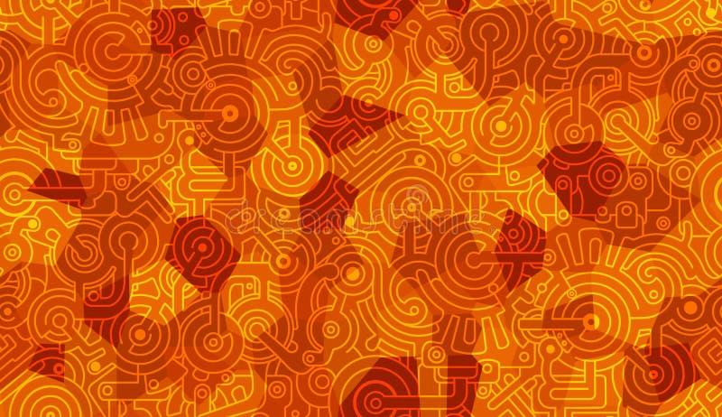 abstrakcjonistyczny deseniowy bezszwowy wektor machinalny Cogs, rygle i przekładnie, Odosobniony tło wieloboki Światło i zmrok -  royalty ilustracja