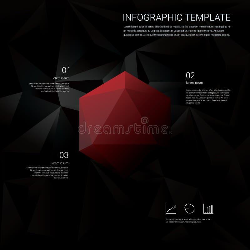 Abstrakcjonistyczny diamentu 3d wieloboka symbol na czarnym niskim poli- wektorowym tle Biznesowy infographics szablon z finanse royalty ilustracja