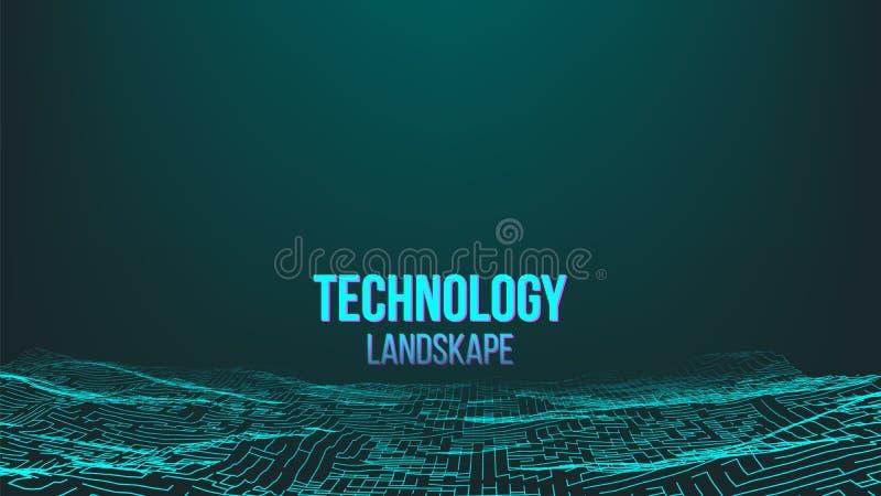 Abstrakcjonistyczny Digital krajobrazu tła wektor Kropki Wireframe Energetyczna informacja Technologii ilustracja royalty ilustracja
