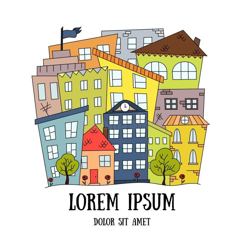 Abstrakcjonistyczny doodle miasta tło Wektorowa ilustracja w dzieciak kreskówki stylu ilustracja wektor