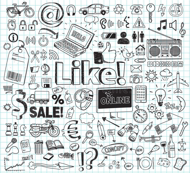 abstrakcjonistyczny doodle rysować kwieciste ręki ilustracje ustawiać royalty ilustracja