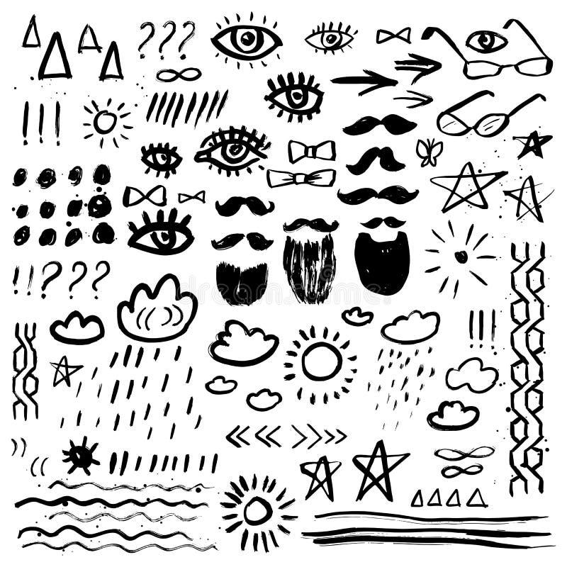 abstrakcjonistyczny doodle rysować kwieciste ręki ilustracje ustawiać Wąsy, broda, oczy, gwiazdy, słońce, chmurnieje Grunge eleme royalty ilustracja