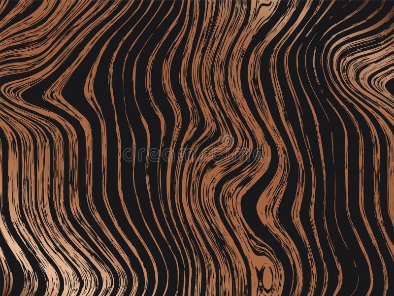 Abstrakcjonistyczny drewniany złoto wzoru tekstur tło Bezszwowa luksusowa drewniana tekstura, deskowa ręka rysująca grafika Zwart ilustracji