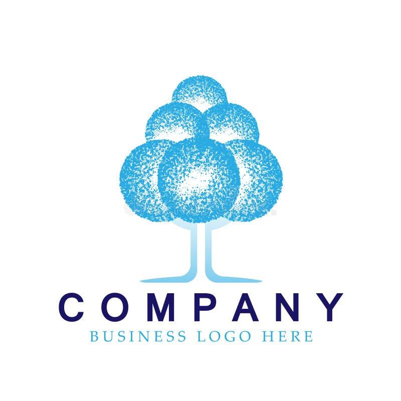 Abstrakcjonistyczny drzewny błękitny barwiony Halftone nowożytny drzewny logo ikony projekta element dla biznesowej firmy logo na ilustracji