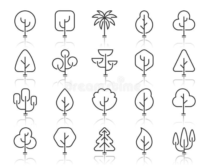 Abstrakcjonistyczny Drzewny prosty czerni linii ikon wektoru set royalty ilustracja