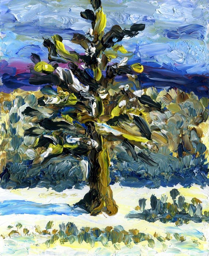 Abstrakcjonistyczny drzewo przy zimą lasu obraz olejny krajobrazowa rzeka royalty ilustracja