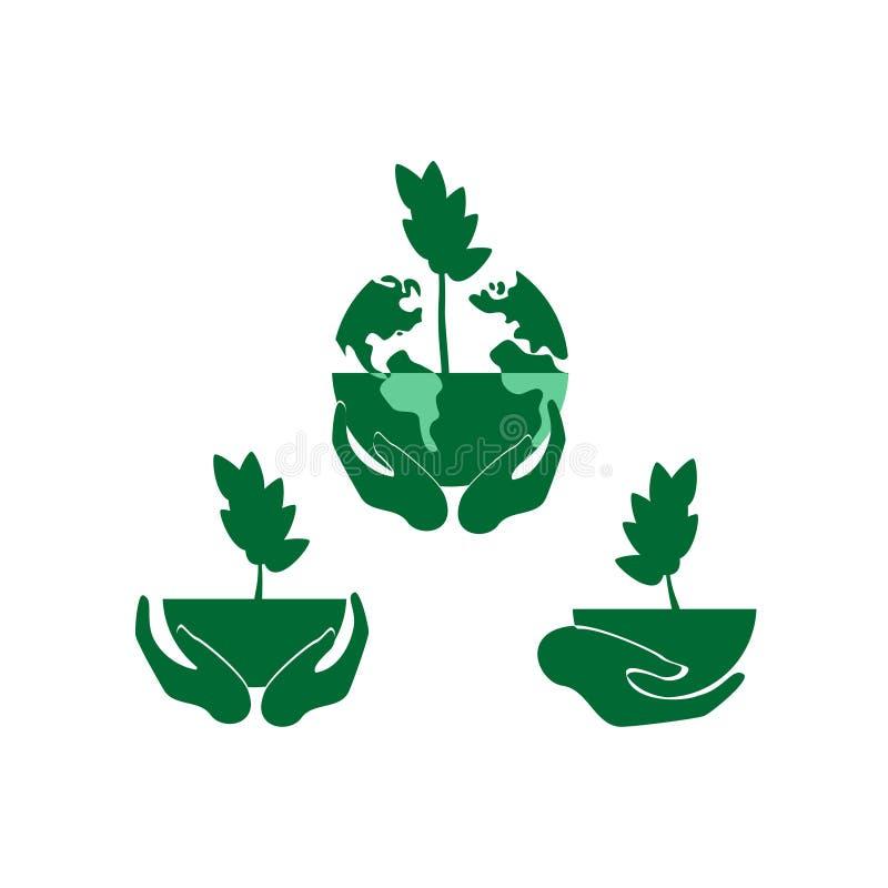 Abstrakcjonistyczny drzewo robi? r?ki i li?cie Ochrona środowiska, natury konserwacja ilustracja wektor