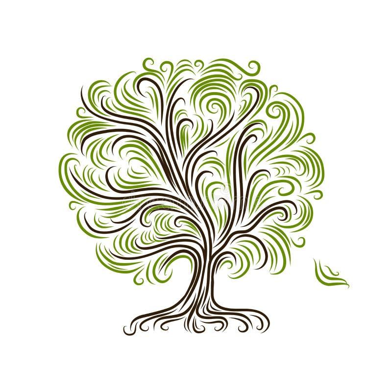 Abstrakcjonistyczny drzewo z korzeniami dla twój projekta ilustracja wektor