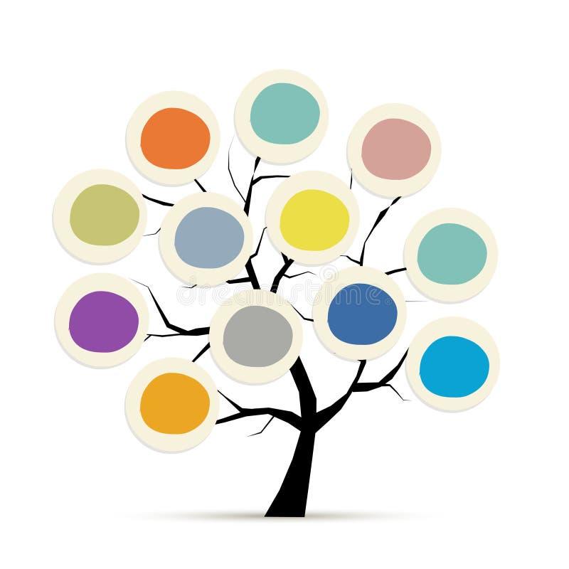 Abstrakcjonistyczny drzewo z okrąg ramami dla twój projekta ilustracja wektor