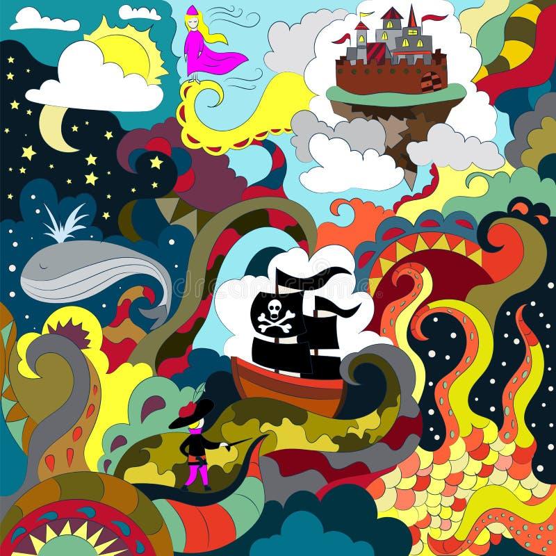 Abstrakcjonistyczny dziecięcy rysunek w doodle stylu Princess i pirata statek royalty ilustracja