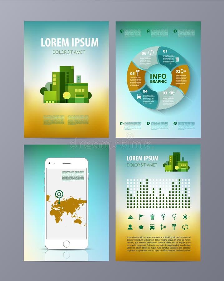 Abstrakcjonistyczny eco broszurki ulotki projekta wektoru szablon royalty ilustracja