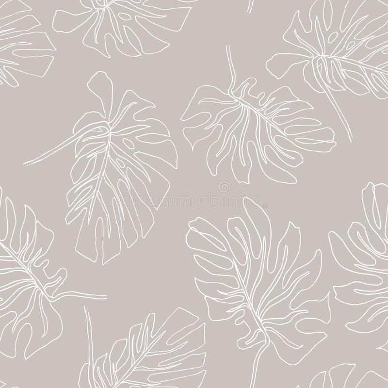 Abstrakcjonistyczny egzot opuszcza bezszwowego wz?r Ręka rysujący tropikalny lata tło: Filodendronu monstera, palmowego liścia ko ilustracja wektor
