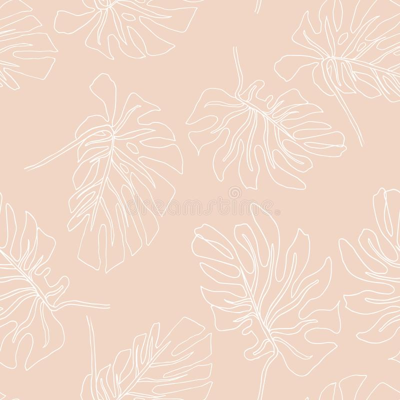 Abstrakcjonistyczny egzot opuszcza bezszwowego wz?r Ręka rysujący tropikalny lata tło: Filodendronu monstera, palmowego liścia ko ilustracji