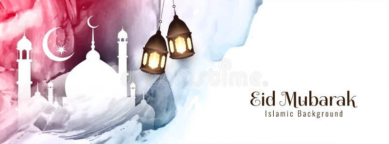 Abstrakcjonistyczny Eid Mubarak festiwalu sztandaru projekt ilustracji