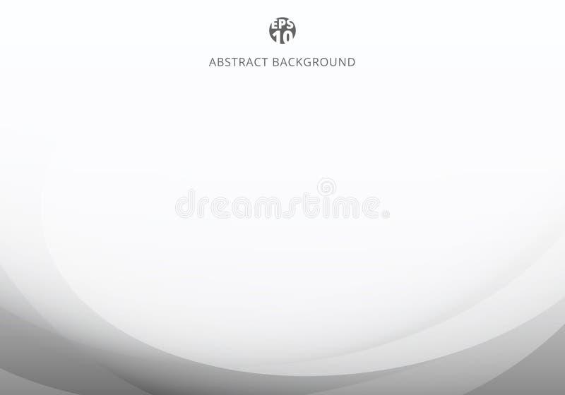 Abstrakcjonistyczny elegancki biały i szary światło krzywy szablon na białym tle z kopii przestrzenią ilustracja wektor