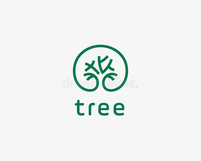 Abstrakcjonistyczny elegancki drzewo parka linii loga ikony projekt Ogólnoludzki kreatywnie premii bryły symbol Pełen wdzięku prą ilustracji
