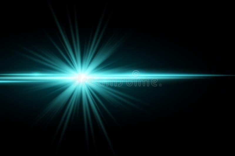 Abstrakcjonistyczny elegancki lekki skutek na ciemnym tle Jaskrawa rozjarzona gwiazda bystre flary niebieskie wiązki Wybuch równi royalty ilustracja
