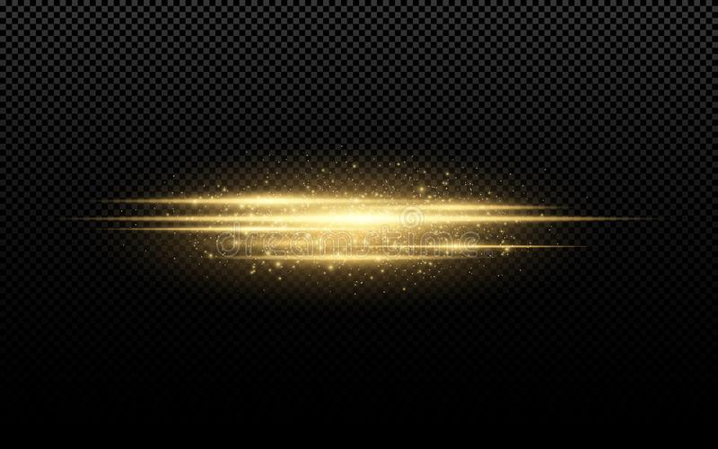 Abstrakcjonistyczny elegancki lekki skutek na przejrzystym tle Złote rozjarzone neonowe linie w ruchu Złoty świecący pył i świece ilustracji