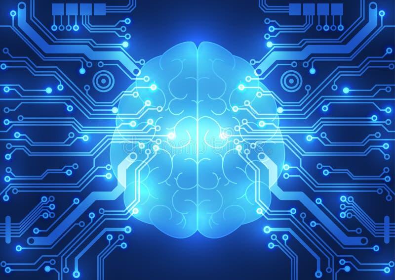 Abstrakcjonistyczny elektrycznego obwodu cyfrowy mózg, technologii pojęcie ilustracja wektor