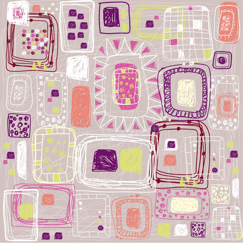 Abstrakcjonistyczny etniczny bezszwowy wzór w stylu pierwotna kultura Etniczny wektorowy tło Grunge tło Kwadratowy wzór używać fo ilustracja wektor