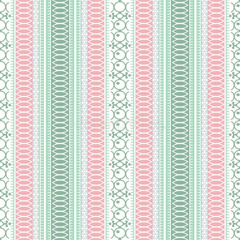 Abstrakcjonistyczny etniczny bezszwowy wzór, wektorowa ilustracja, ornamentacyjny tło Ozdobny pionowo maswerk w menchiach, zielen ilustracja wektor