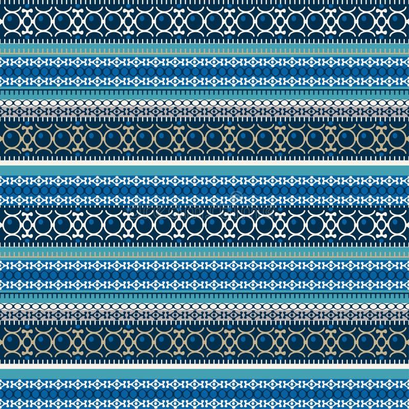 Abstrakcjonistyczny etniczny bezszwowy wzór, wektorowa ilustracja, rocznika ornamentacyjny tło Ozdobny horyzontalny multicolor ko ilustracja wektor