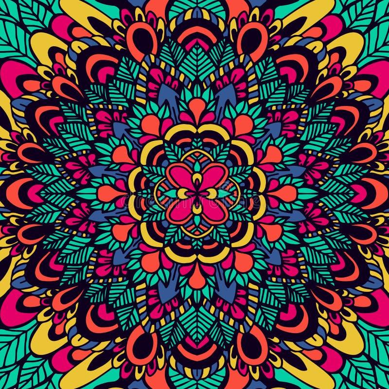 Abstrakcjonistyczny etniczny ornament azjata wzór Kolorowy autentyczny tło również zwrócić corel ilustracji wektora Mandala druk ilustracja wektor