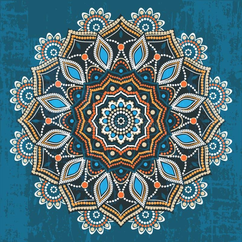 Abstrakcjonistyczny etniczny round ornament ilustracji