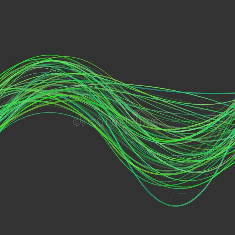 Abstrakcjonistyczny falisty kreskowy tło - grafika od zieleń wyginających się fala lampasów ilustracji