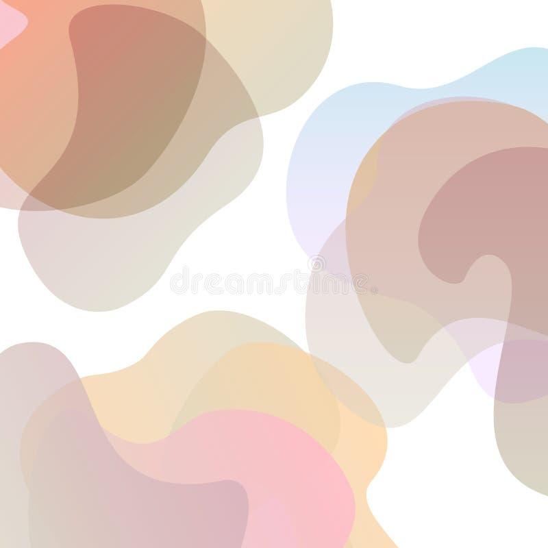 Abstrakcjonistyczny falisty miękki pastelowy gradient barwiący kształty ilustracja wektor