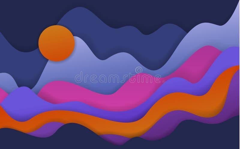 Abstrakcjonistyczny falisty papieru cięcia styl kształtuje, fantazja krajobraz ilustracja wektor