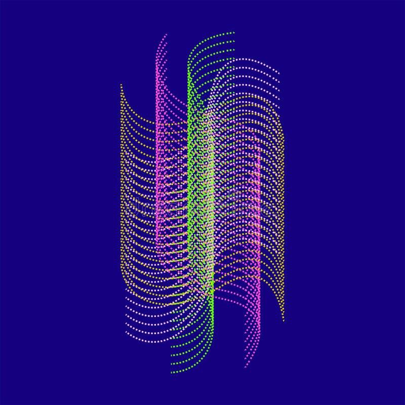 Abstrakcjonistyczny falisty tło dla sztandaru, ulotka, książkowa pokrywa, plakat Dynamiczny skutek 3d perspektywy siatka Wektorow ilustracji