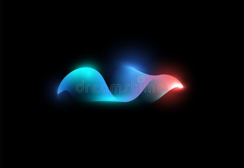 Abstrakcjonistyczny falowanie kształt Błękit i menchie barwimy cyfrową falę Świecący waveform Muzyka przepływ, graficzny wyrównyw ilustracji