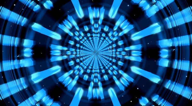 Abstrakcjonistyczny fantastyka naukowa Błękitny tło Astronautyczny tunel lub brama ilustracji