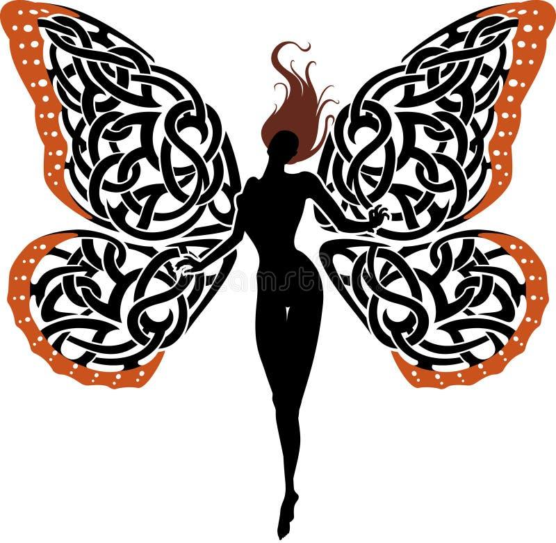 Abstrakcjonistyczny fantazi damy motyl ilustracja wektor
