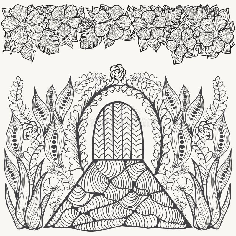 Abstrakcjonistyczny fantazja obrazek Kwiaty, liść i drzwi, Uprawiać ogródek one ilustracja wektor