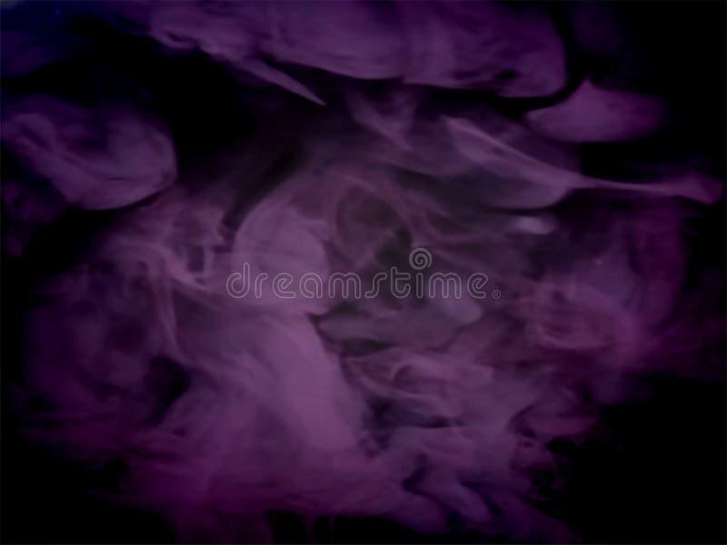Abstrakcjonistyczny fiołka dym na czarnym tle ilustracja wektor