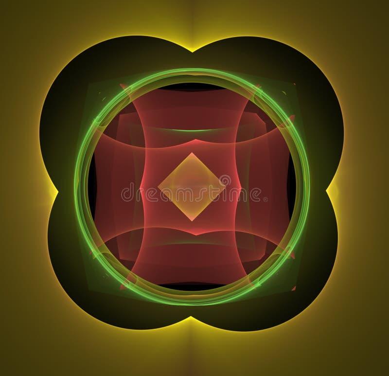Abstrakcjonistyczny fractal barwiący żółty czerwieni i zieleni tło obraz royalty free