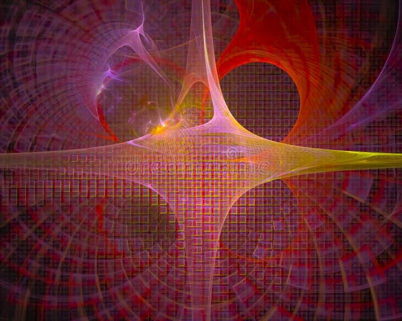 Abstrakcjonistyczny fractal, krzywy elegancji spływowa fala, przepływ ilustracja wektor